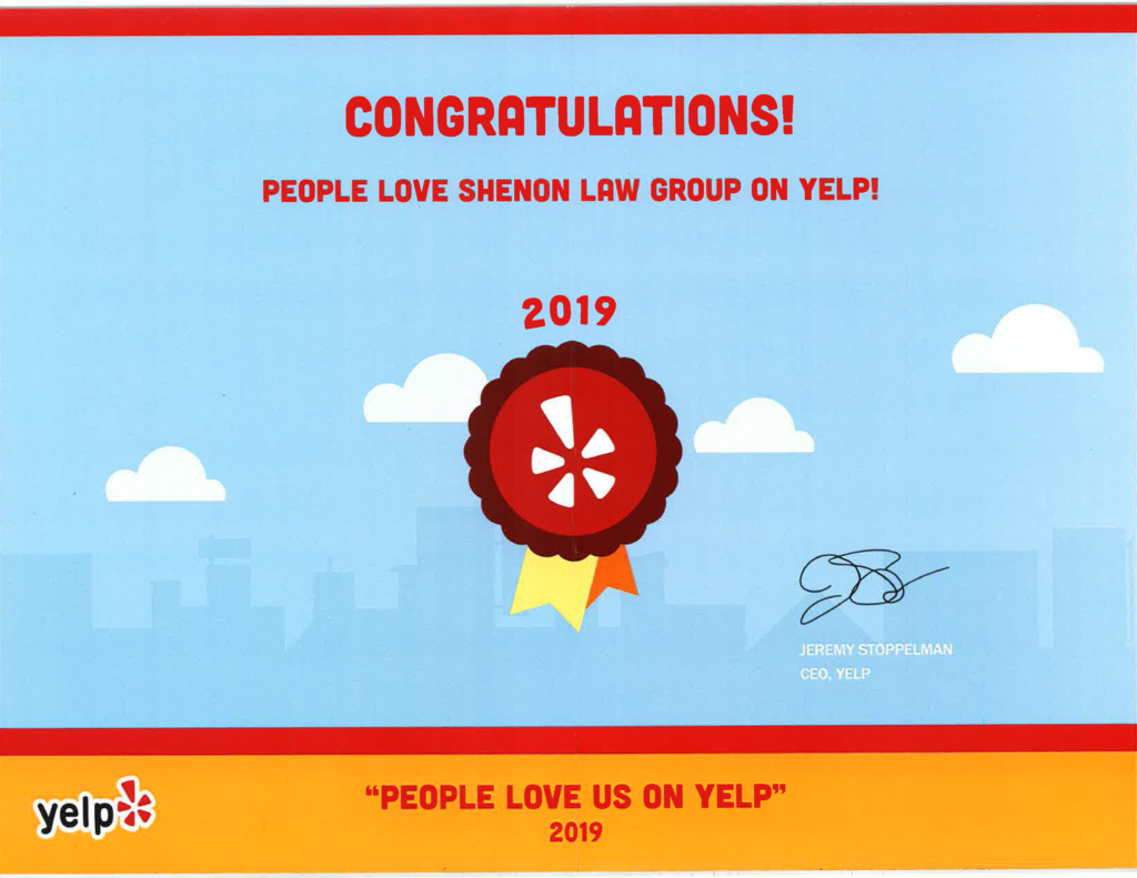 Yelp Badge for Shenon Law Group